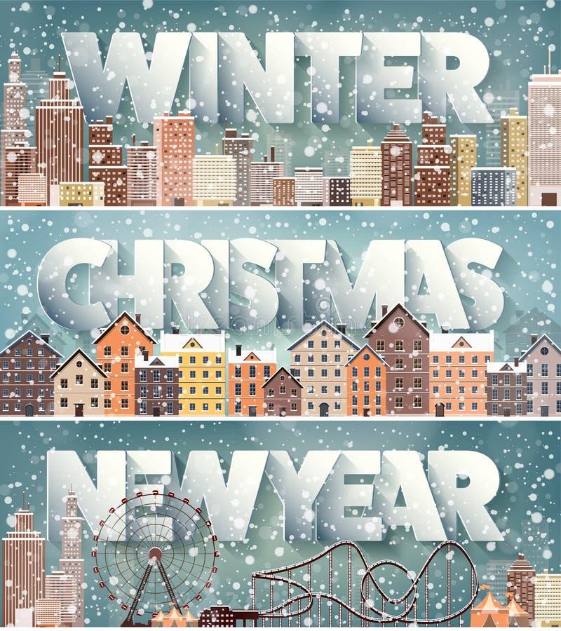 2月12月1月月,冬天都市风景 城市剪影 镇地平线 中间地区房子全景 新年度 库存例证