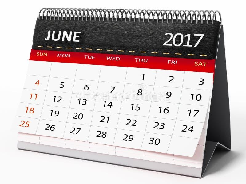 6月2017桌面日历 3d例证 向量例证