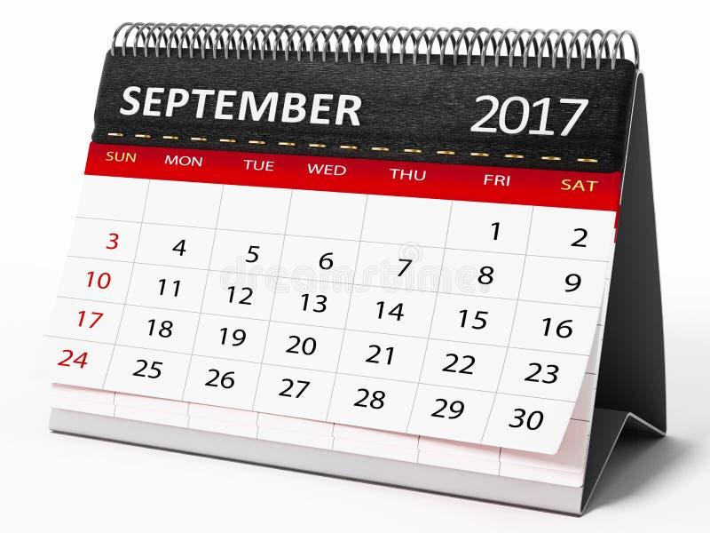 9月2017桌面日历 3d例证 皇族释放例证