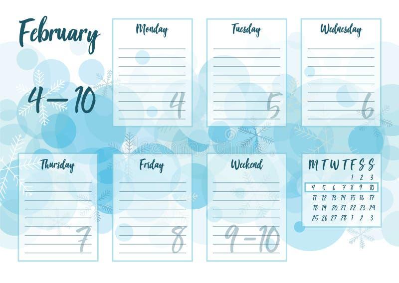 2月2019每周计划者 库存例证