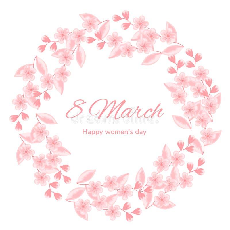 3月8 背景日国际红色印花税白人妇女 樱花 桃红色花 贺卡的,横幅,海报设计模板 库存例证
