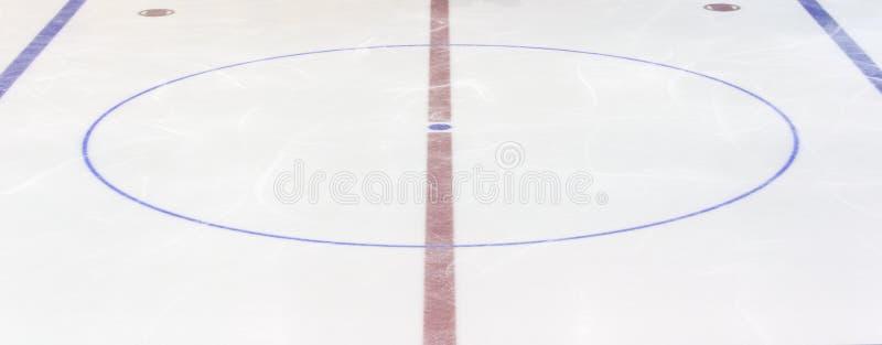 有一个中央圈子的冰球场的片段 概念,曲棍球 免版税图库摄影