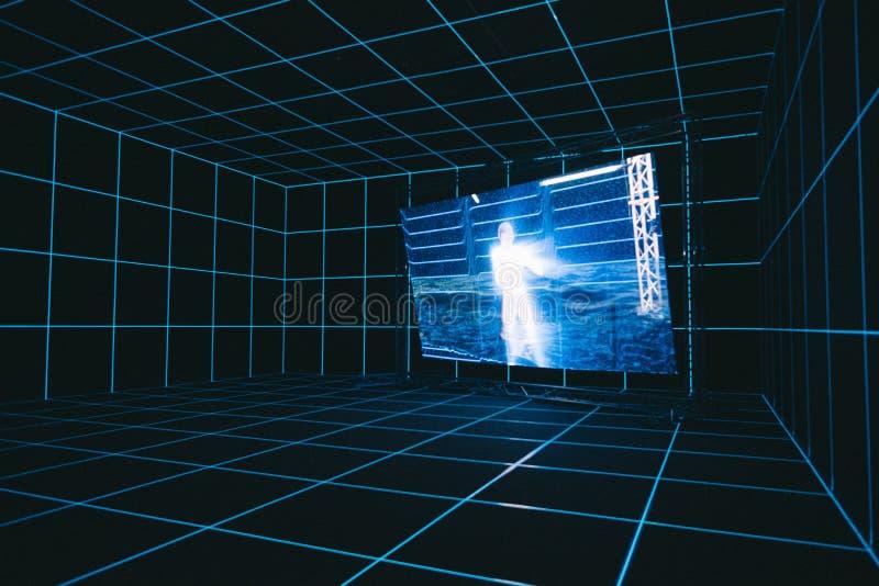 有一个人的一个白色剪影的屏幕虚拟现实空间的 库存例证