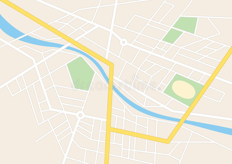 有一个体育场的镇街道计划的 皇族释放例证