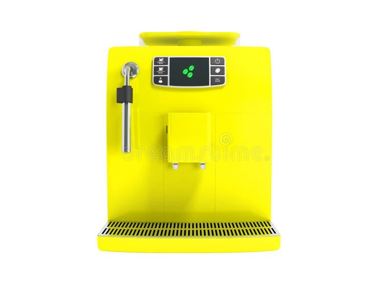 有一个储水箱的现代多功能烹饪器材两个杯子的在前面3d的黄色在白色背景不回报阴影 皇族释放例证
