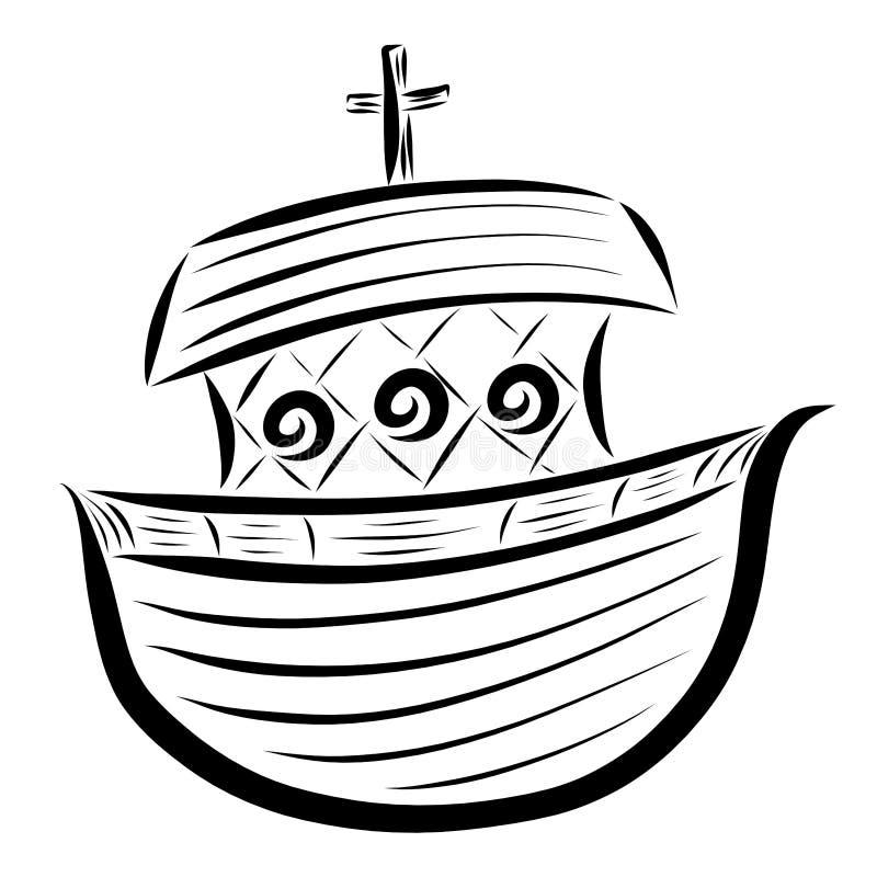 有一个十字架的平底船在屋顶,黑样式 库存例证