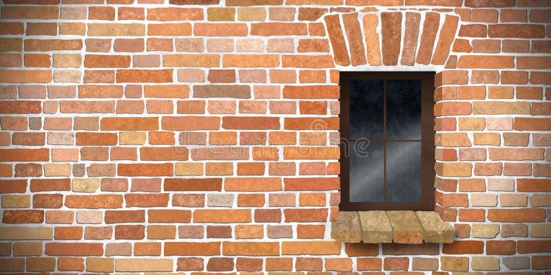 有一个历史的窗口的织地不很细砖墙 免版税库存图片