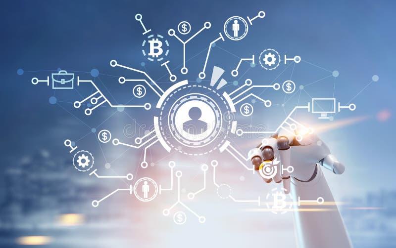 有一个发光的指点的机器人手在网络和bitcoin全息图 皇族释放例证