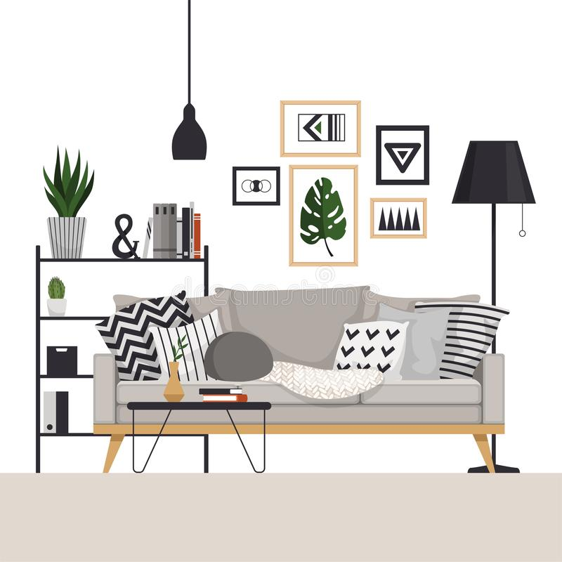 有一个咖啡桌和机架的灰色沙发有在斯堪的纳维亚样式的一盏落地灯的 使用图片、植物和枕头 库存例证
