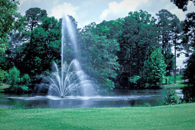 有一个喷泉的一个小池塘在中部 库存图片