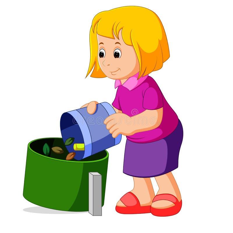 有一个垃圾袋的逗人喜爱的女孩在垃圾容器附近 向量例证