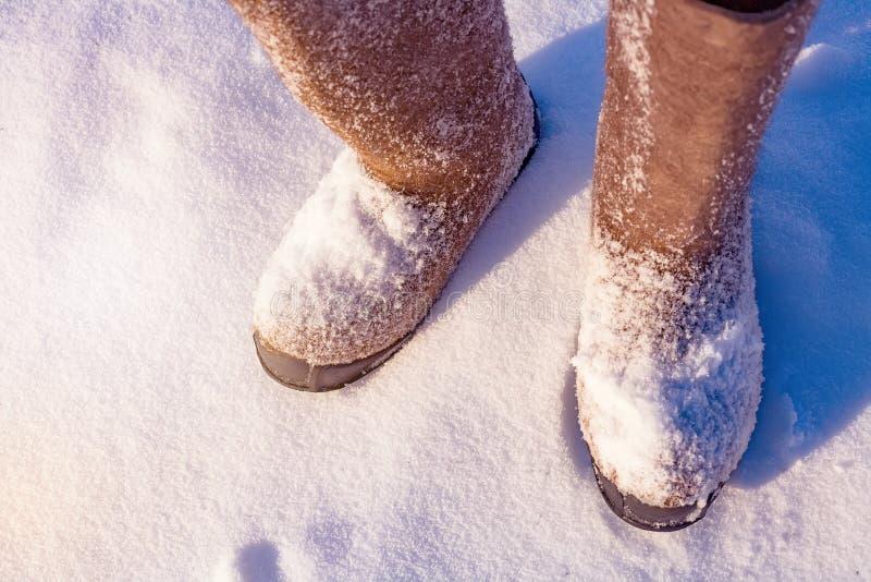 有一个大号身分的冬天鞋子在雪露天 在视图之上 极端寒冷 库存图片