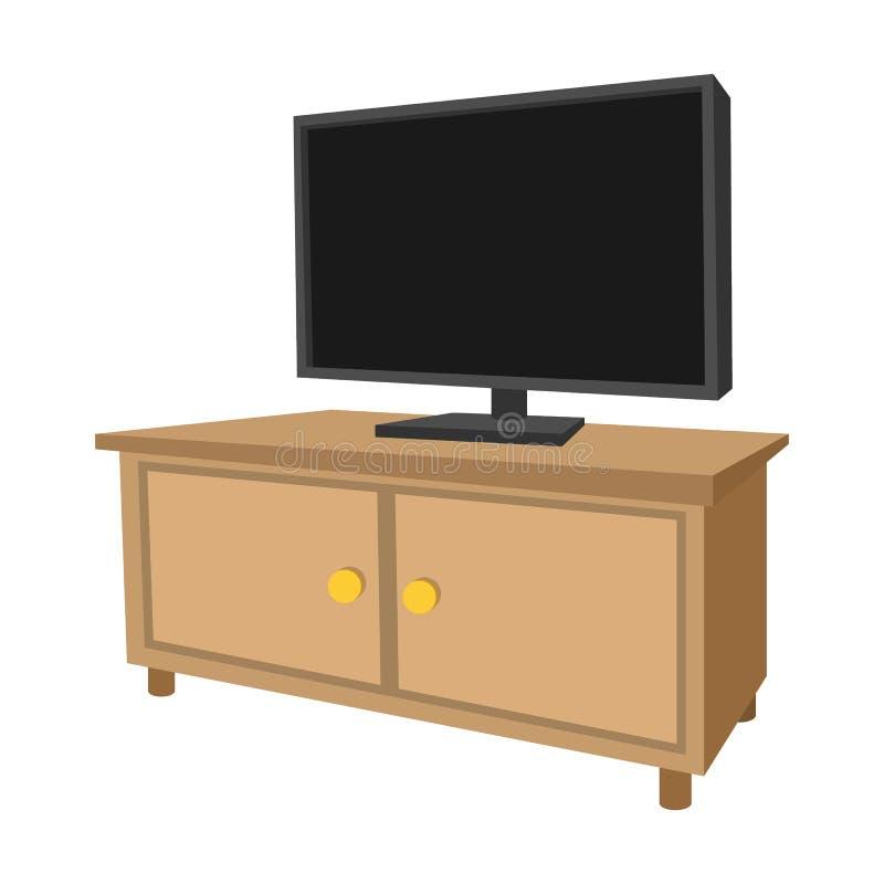 有一个大电视动画片象的木电视内阁 向量例证
