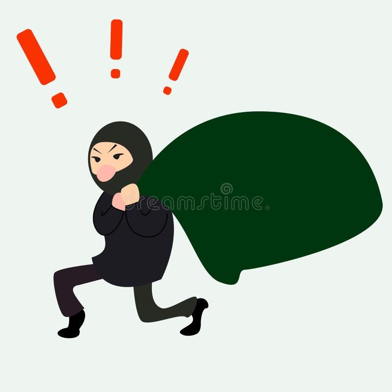 有一个大袋子的蹲下的窃贼 向量例证