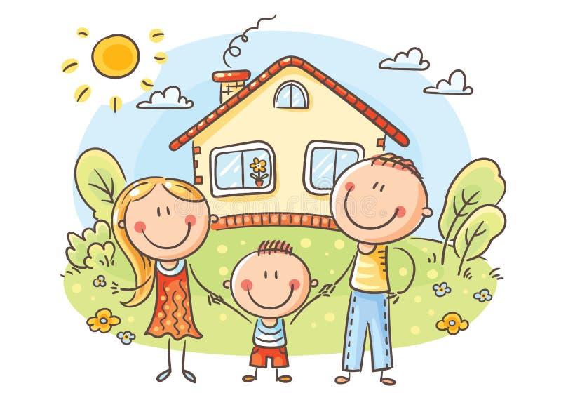 有一个孩子的愉快的家庭在他们的房子附近 向量例证