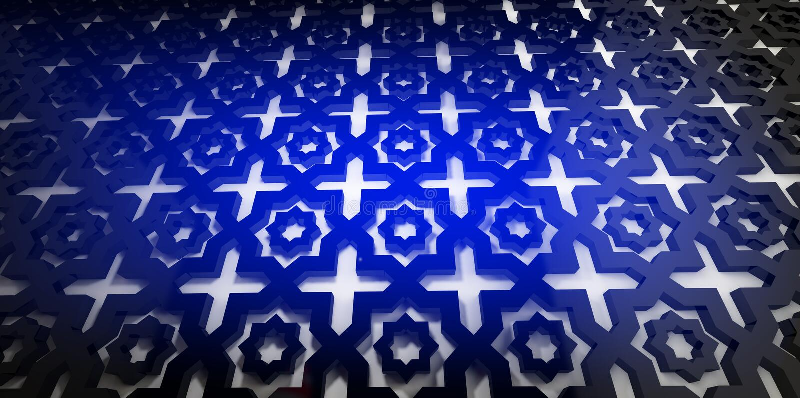 有一个容量东方样式的墙壁,装饰品,霓虹灯 皇族释放例证