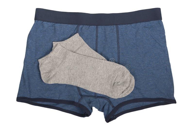 有一个对的蓝色拳击手灰色袜子 库存照片