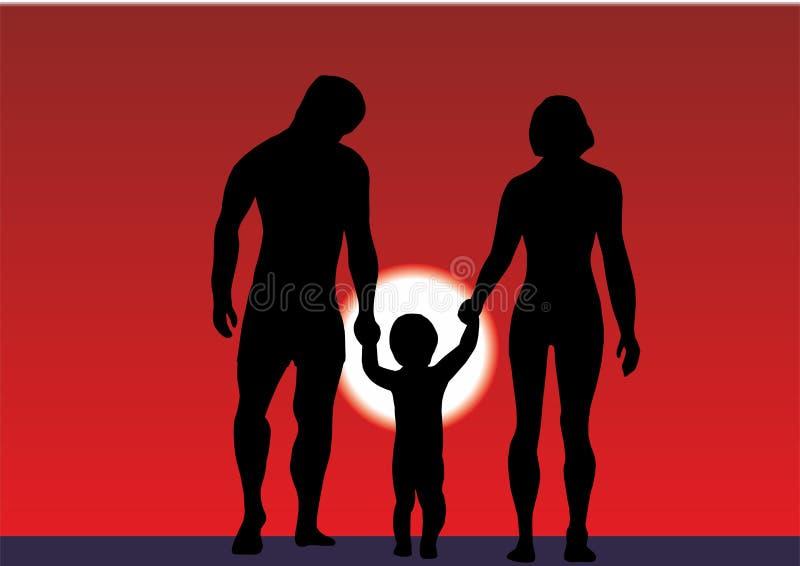 有一个小孩子的家庭海滩的 夏天由海或海洋的家庭度假 在海滩的剪影幸福家庭在sunris 向量例证