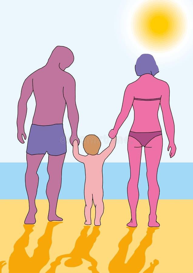 有一个小孩子的家庭海滩的 夏天由海或海洋的家庭度假 库存例证