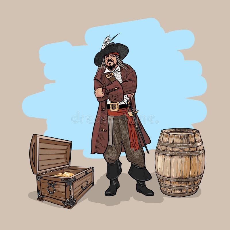 有一个帽子和一支短箭的海盗在桶附近和金子的胸口 向量 向量例证