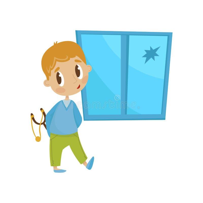 有一个弹弓的逗人喜爱的矮小的恶霸男孩在被碰撞的窗口前面,流氓快乐的孩子,坏儿童行为传染媒介 向量例证