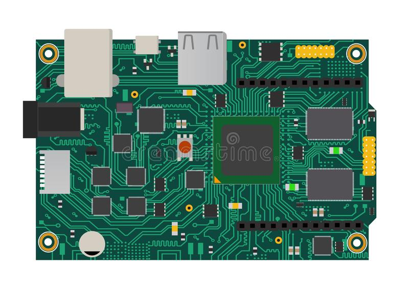 有一个微处理器、接口、LEDs、连接器和其他电子元件的DIY电子兆委员会,对形式 皇族释放例证