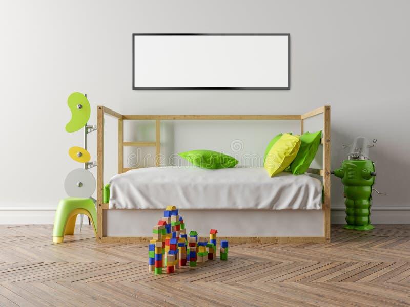 有一个木轻便小床和白色墙壁的空的儿童居室在 库存例证