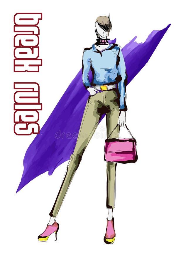 有一个桃红色提包的美丽的年轻女人,在一条蓝色女衬衫和棕色长裤 手拉的时尚女孩 E 库存例证
