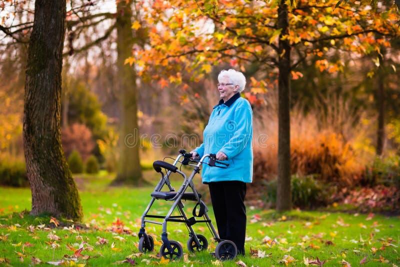 有一个步行者的资深夫人在秋天公园 免版税库存照片