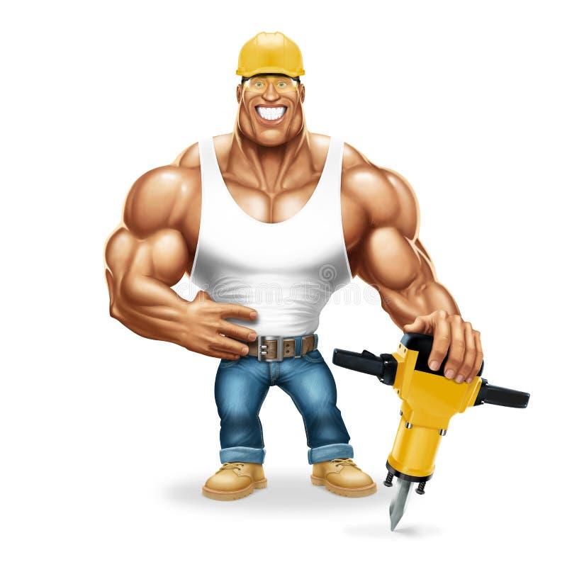 有一个气锤的肌肉工作者 库存照片