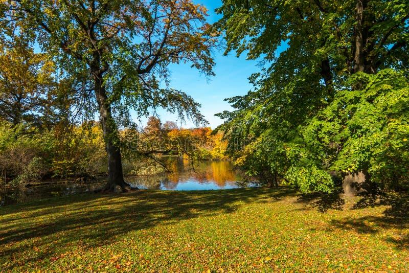 有一个池塘的公园秋天颜色的 免版税库存照片