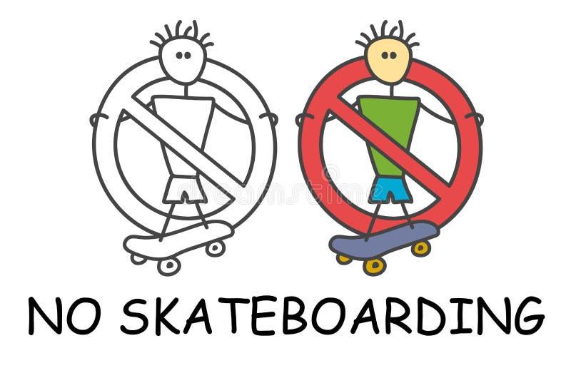 有一个滑板的滑稽的传染媒介棍子人对于儿童样式 没有溜冰板运动没有极端标志红色禁止 o 库存例证