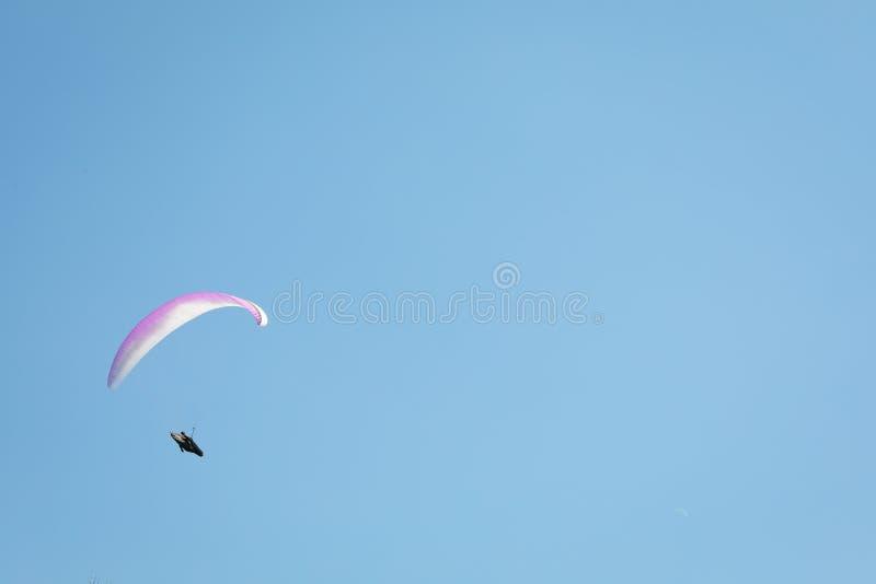 有一个白桃红色降伞的跳伞运动员飞行 库存图片