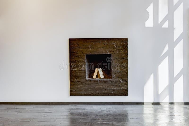 有一个白色壁炉的居住的现代室 库存图片