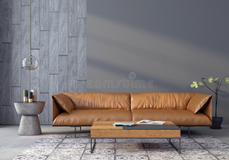 有一个皮革沙发的客厅 库存例证