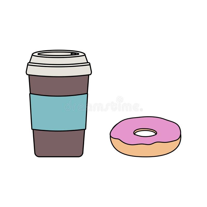 有一个盒盖和一个多福饼的一个咖啡杯与桃红色结霜 向量例证