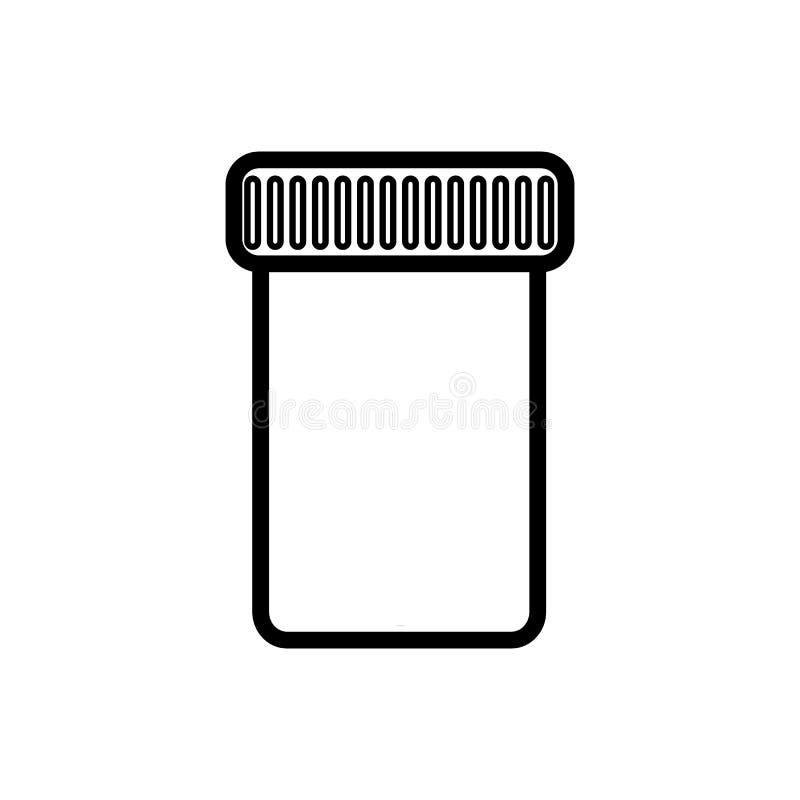 有一个盒盖的一个小医疗药房瓶子收集测试或存放的片剂,胶囊,药片,一个简单的黑白象 库存例证