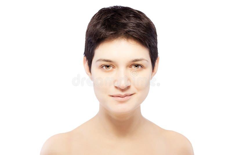 有一个短发的女孩 免版税库存照片