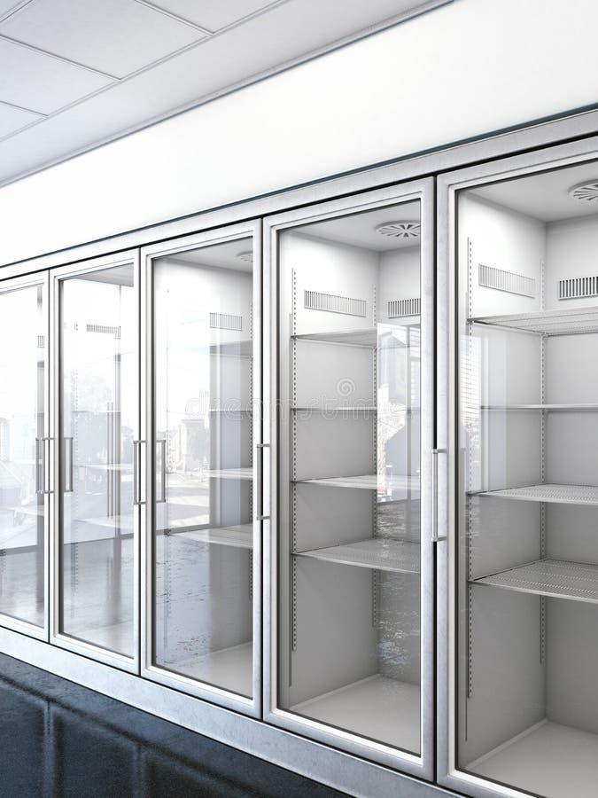 有一个空的冰箱的商店 向量例证