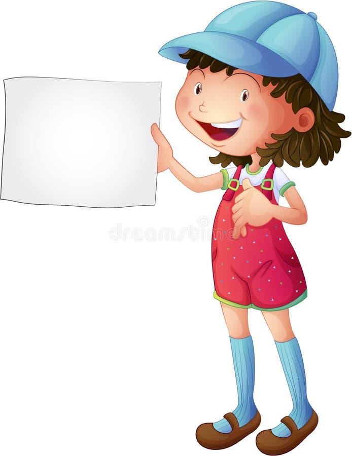 有一个空的素描便笺簿的一个微笑的女孩 库存例证