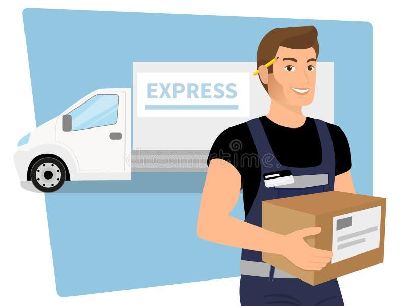 有一个箱子的送货业务人在他的手上和 皇族释放例证
