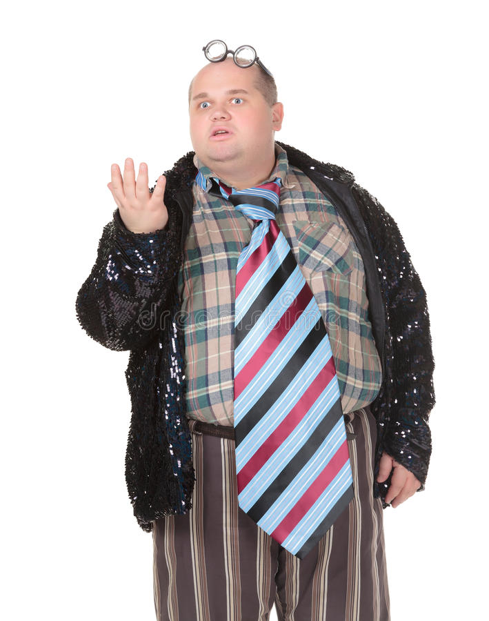 有一个粗暴的流行观念的肥胖人 库存照片