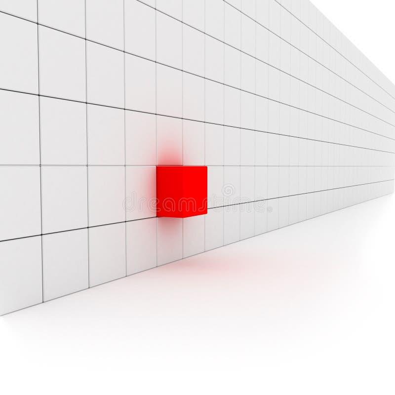 有一个红色块的墙壁 库存照片