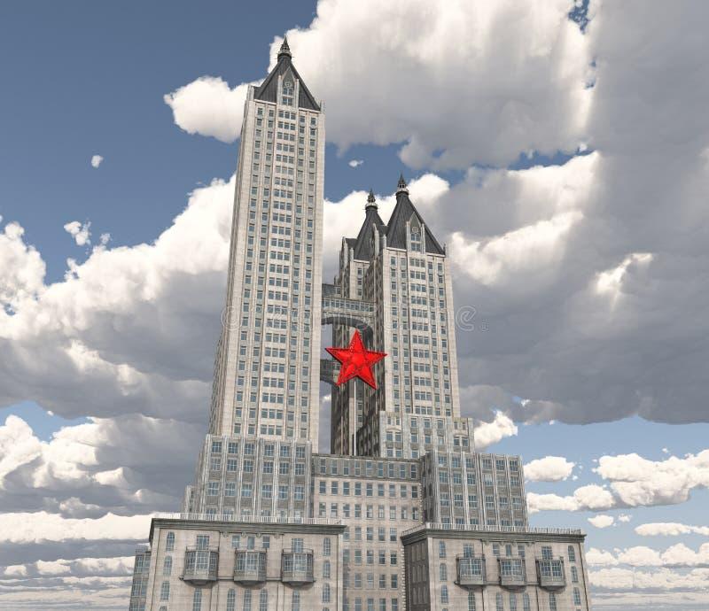 有一个红色星的巨大的摩天大楼 向量例证