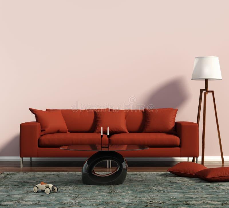 有一个红色沙发和一个几何地毯的客厅 免版税图库摄影