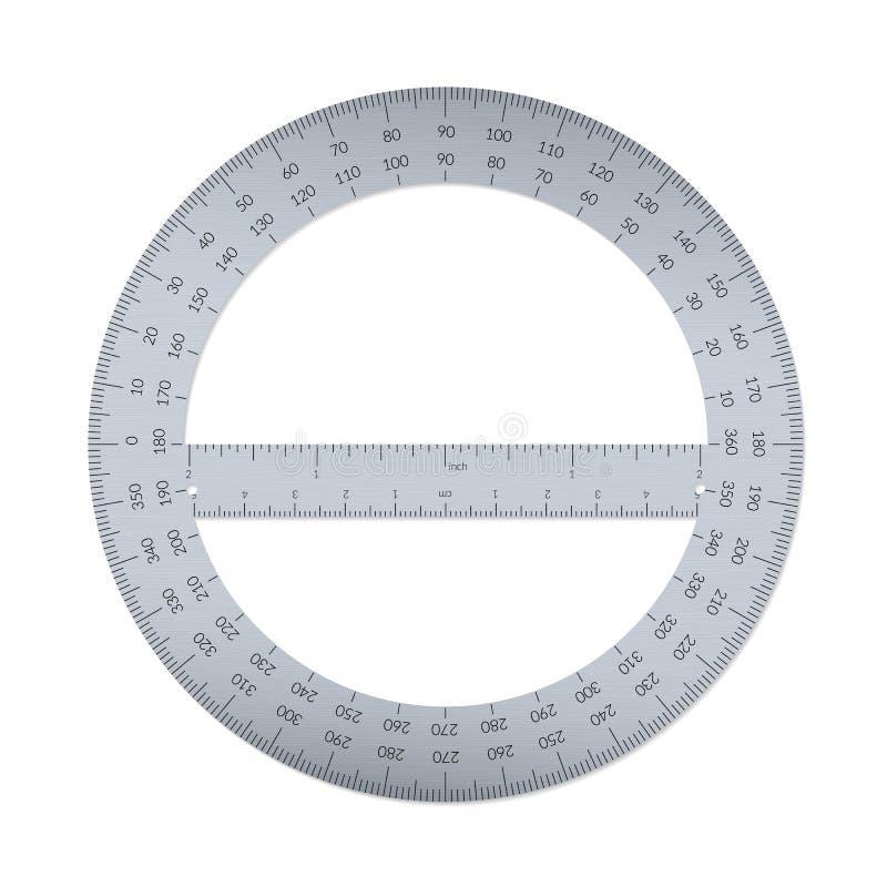 有一个统治者的圆分度器在公尺和皇家单位 向量例证