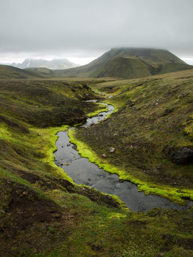 有一个绿色青苔和小山的一条美丽的河在云彩,冰岛 库存照片