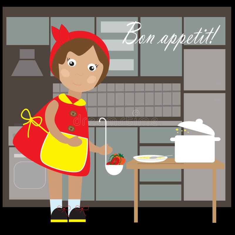 有一个罐的小逗人喜爱的女孩汤在厨房里 皇族释放例证