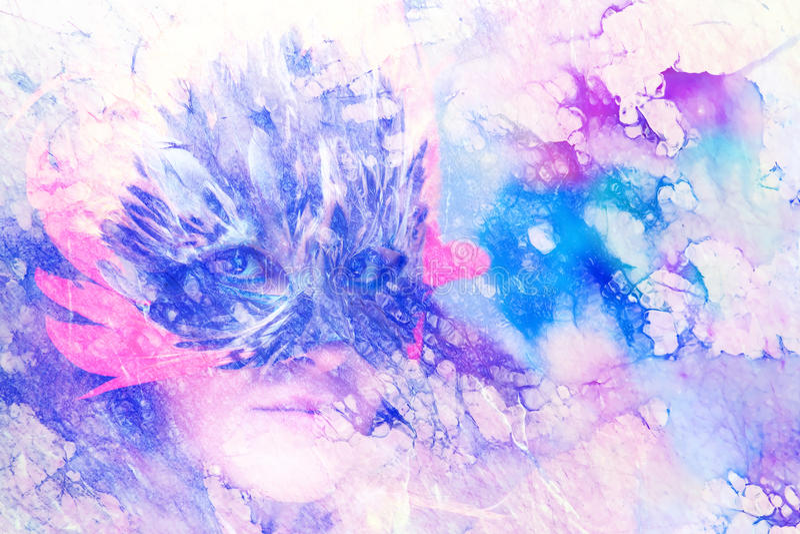 有一个羽毛狂欢节面罩的少妇在抽象背景,目光接触,大理石作用 库存例证
