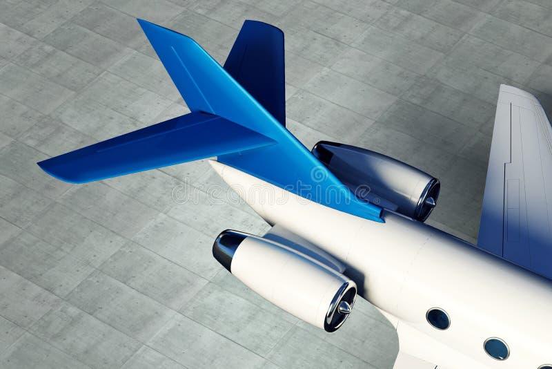 有一个翼的零件的私有航空器喷气机引擎在具体地板背景的 库存例证